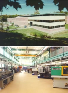 Outside (top) and inside (bottom) views of the previous Plastics Technology department and laboratory at Penn State Erie, The Behrend College.